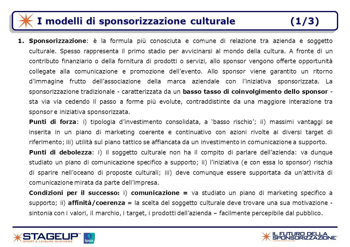 I modelli di sponsorizzazione culturale (1/3)