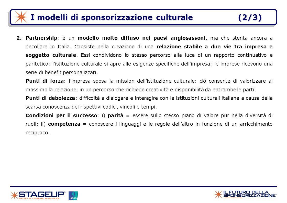 I modelli di sponsorizzazione culturale (2/3)