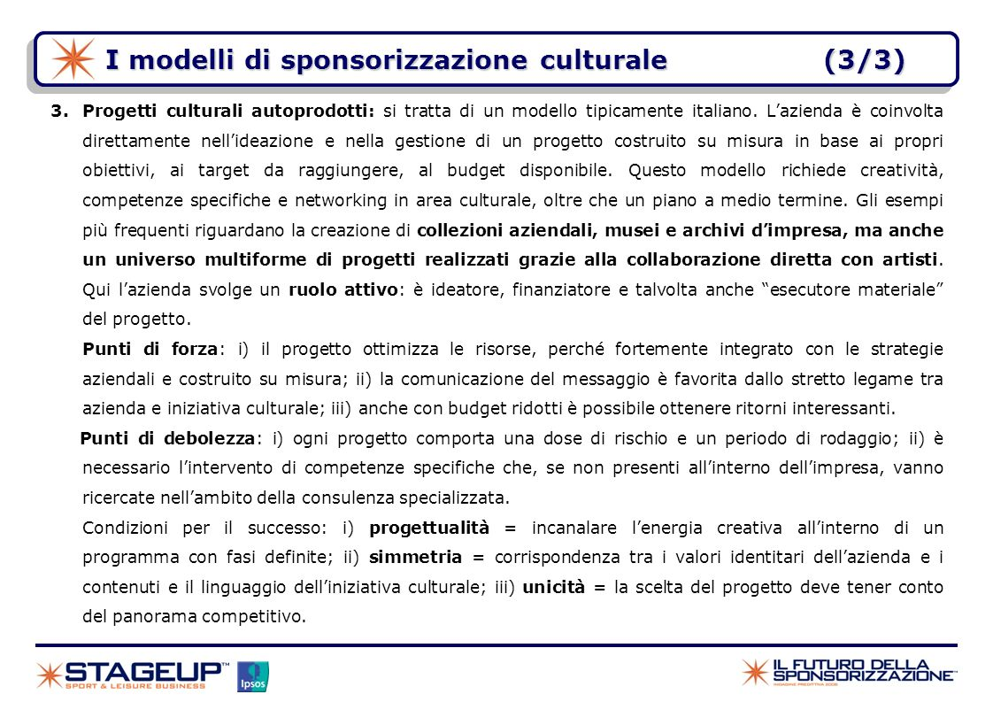 I modelli di sponsorizzazione culturale (3/3)