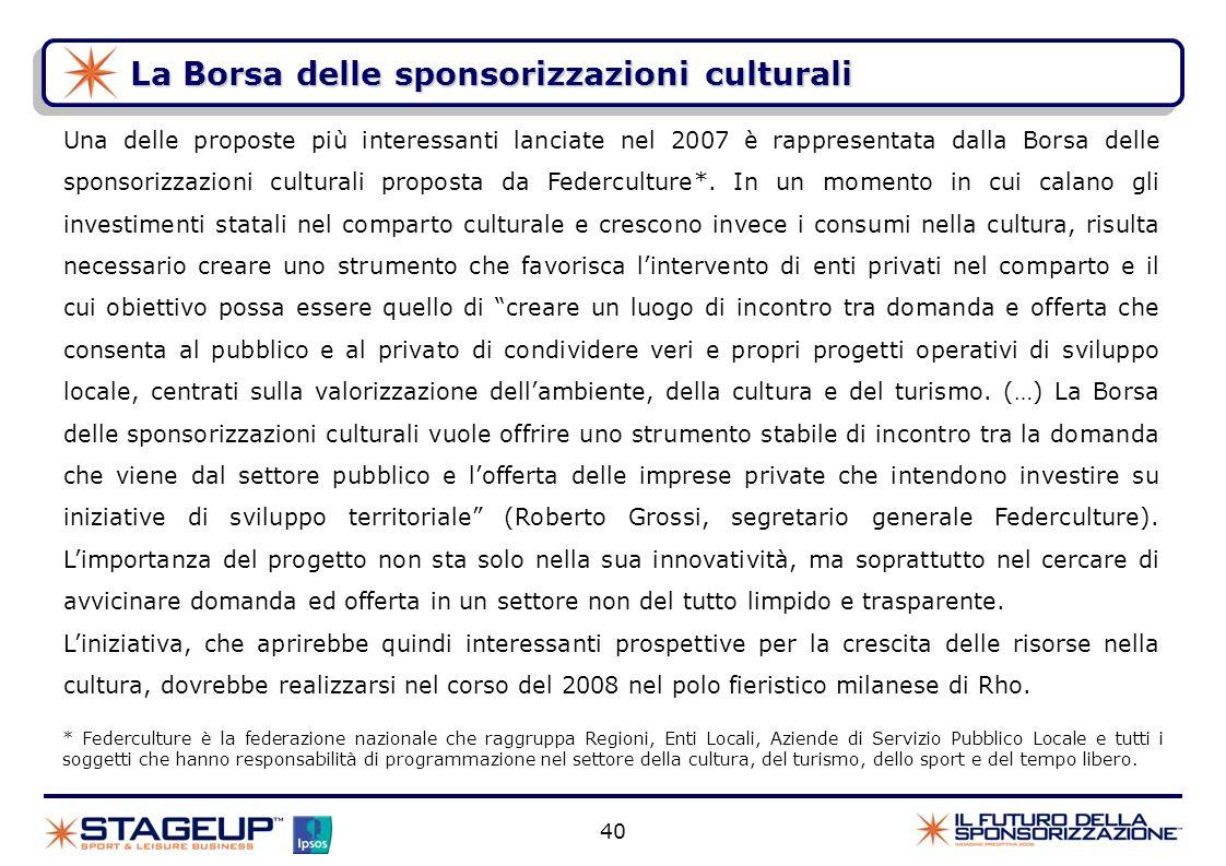 La Borsa delle sponsorizzazioni culturali