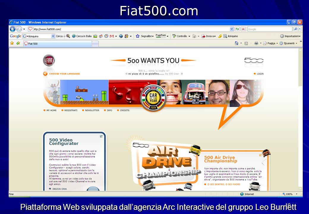Fiat500.com Piattaforma Web sviluppata dall'agenzia Arc Interactive del gruppo Leo Burnett