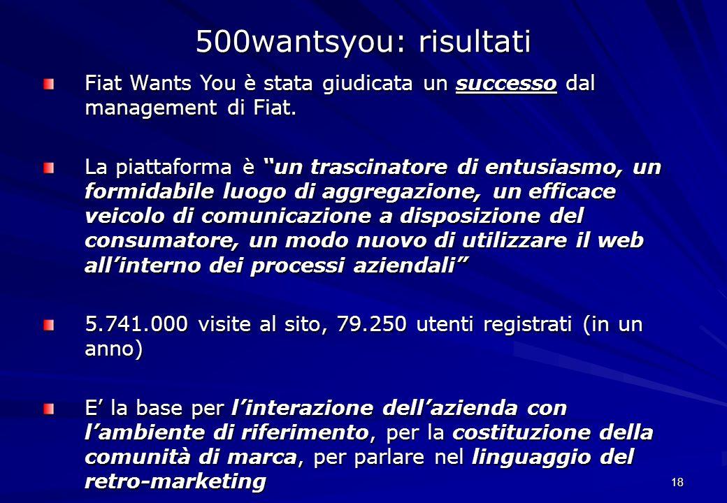 500wantsyou: risultatiFiat Wants You è stata giudicata un successo dal management di Fiat.
