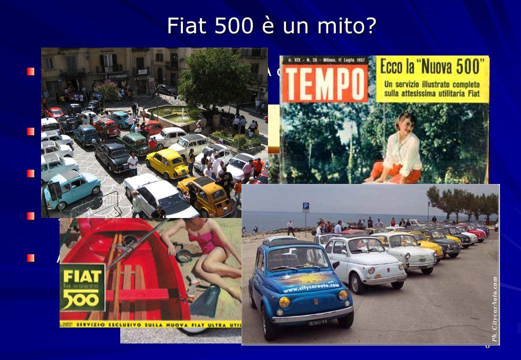 Fiat 500 è un mito Anni '30: Nasce la Fiat 500 A detta Topolino disegnata da Giocosa. 1955 esce la Seicento.
