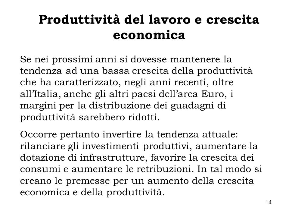 Produttività del lavoro e crescita economica