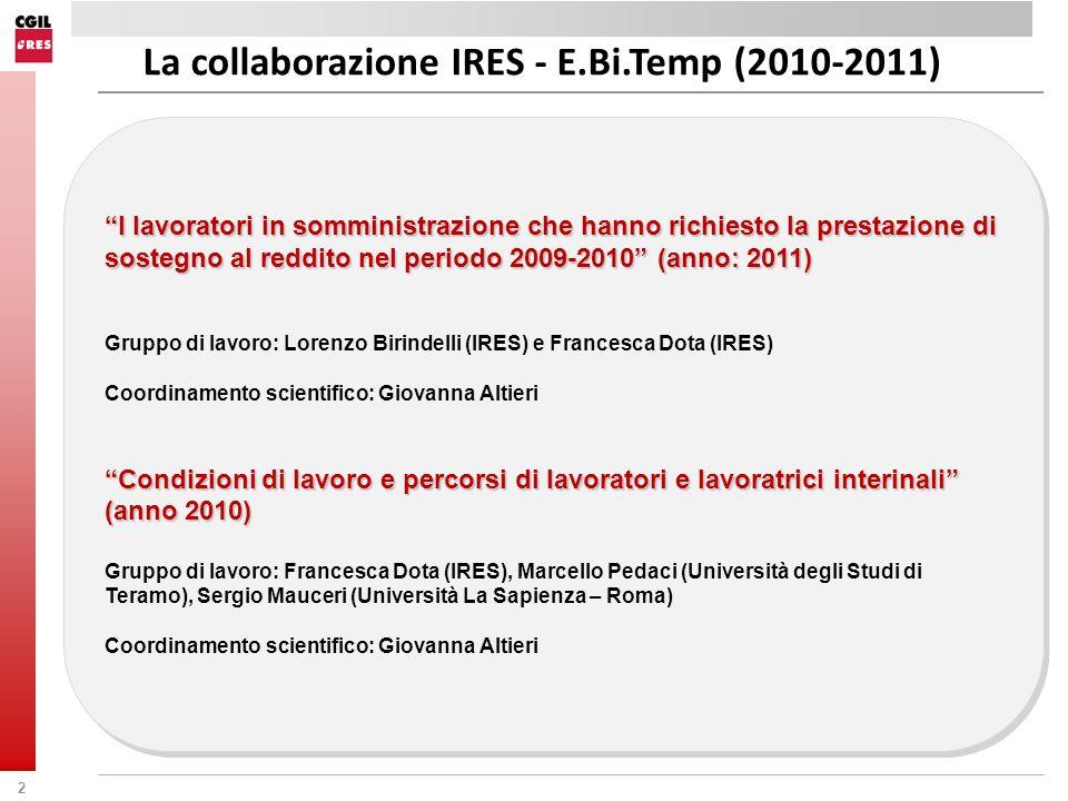 La collaborazione IRES - E.Bi.Temp (2010-2011)