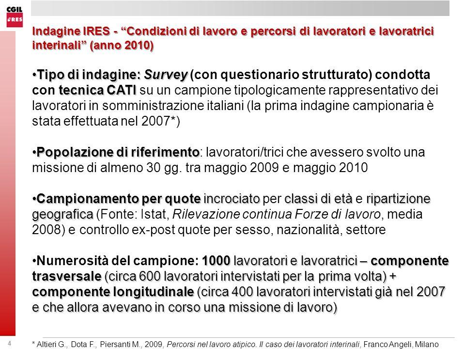 Indagine IRES - Condizioni di lavoro e percorsi di lavoratori e lavoratrici interinali (anno 2010)