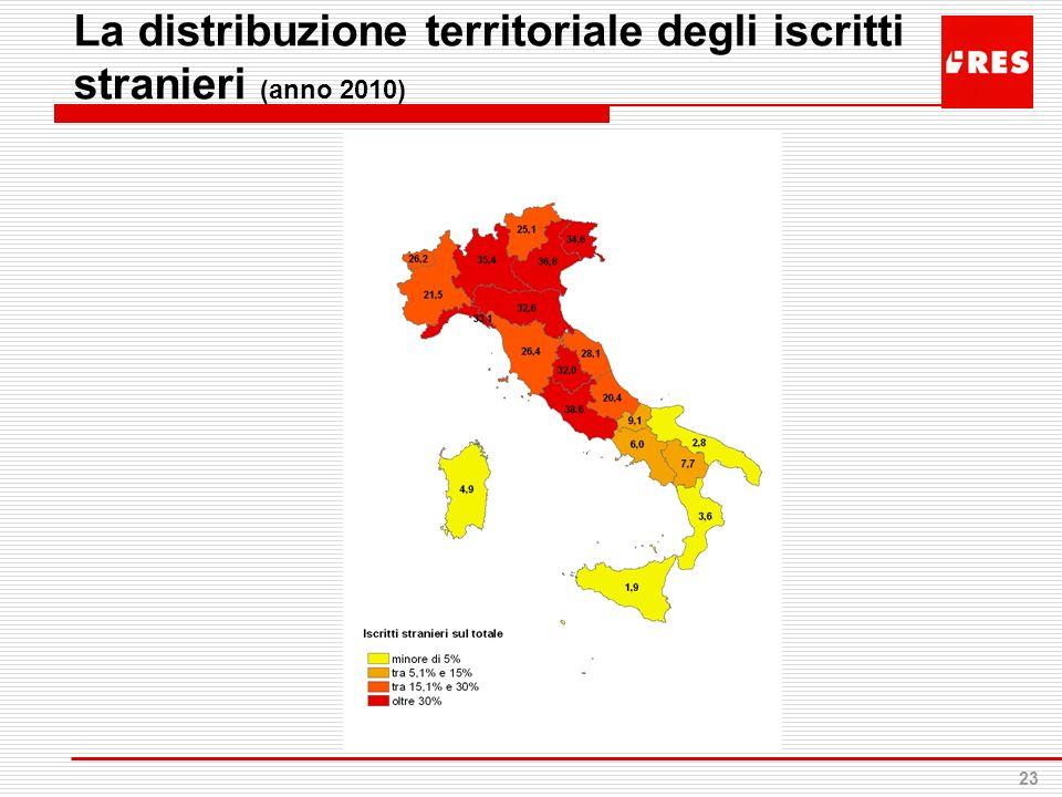 La distribuzione territoriale degli iscritti stranieri (anno 2010)