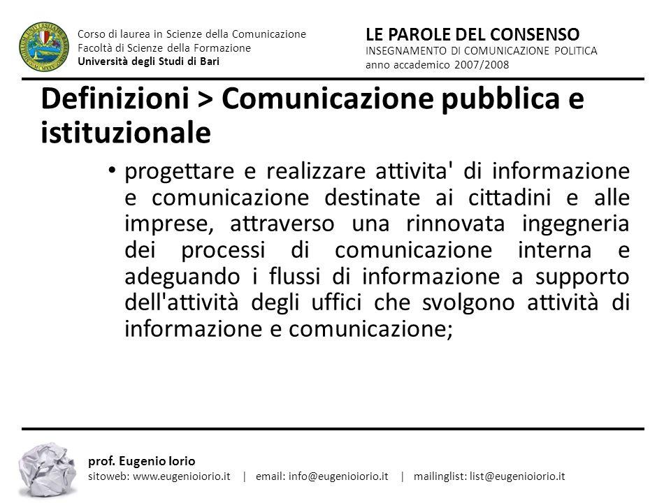 Definizioni > Comunicazione pubblica e istituzionale