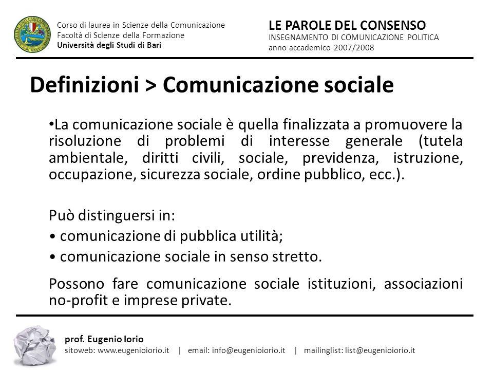 Definizioni > Comunicazione sociale