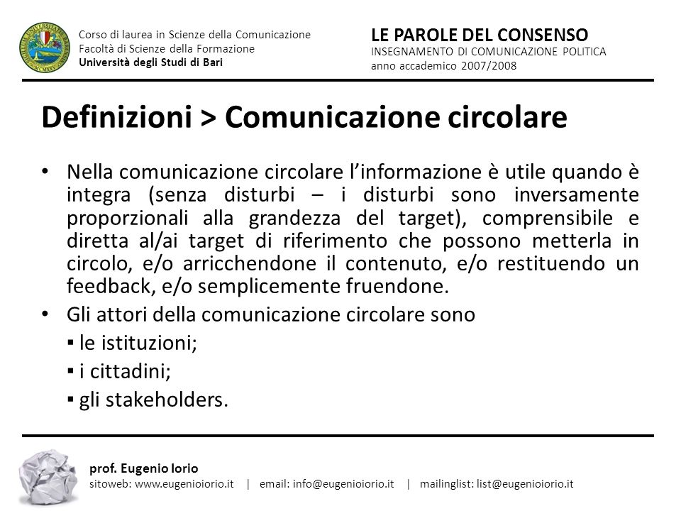 Definizioni > Comunicazione circolare