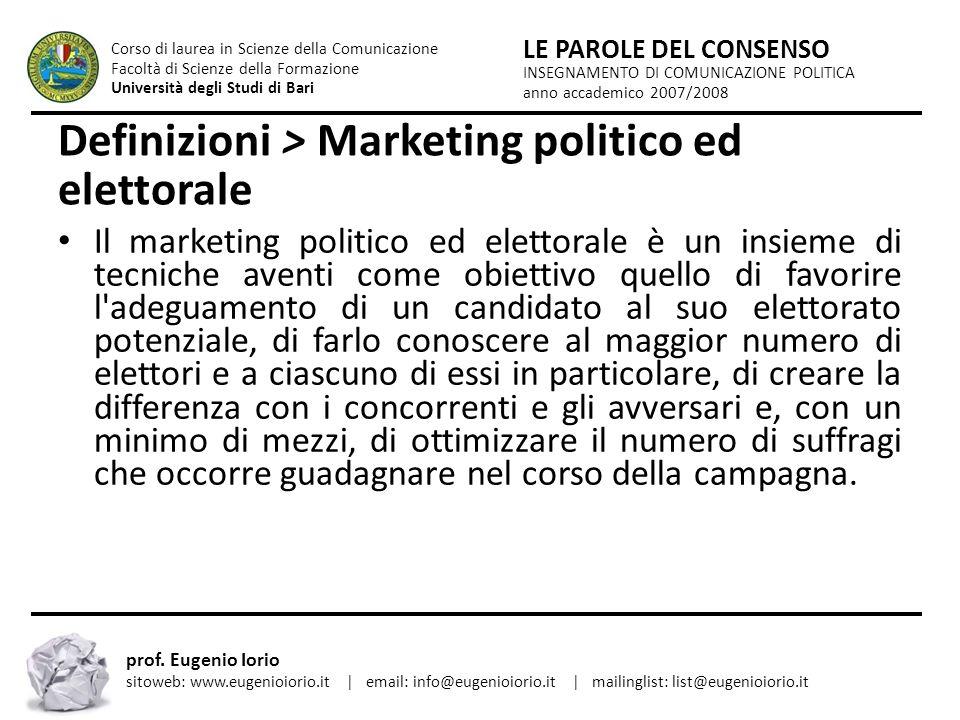 Definizioni > Marketing politico ed elettorale