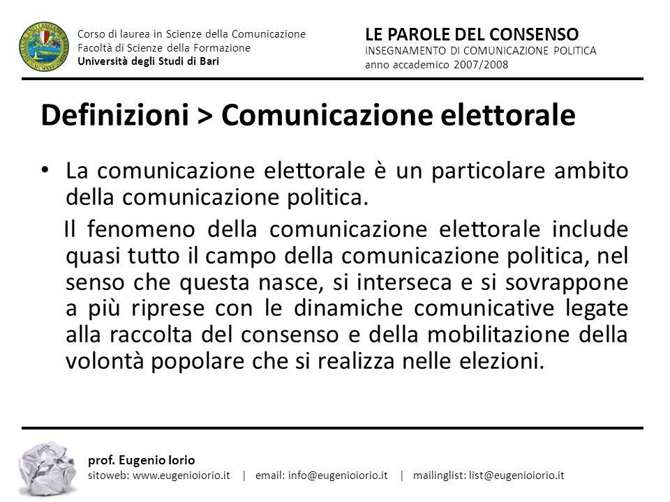 Definizioni > Comunicazione elettorale