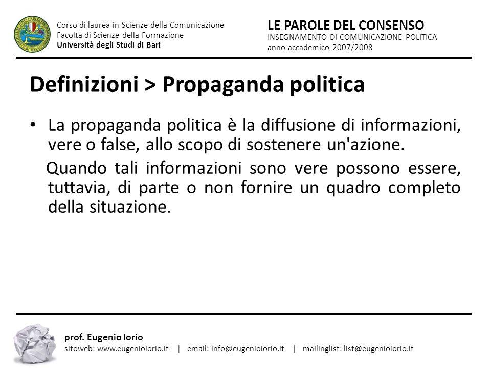 Definizioni > Propaganda politica