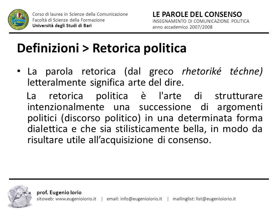 Definizioni > Retorica politica