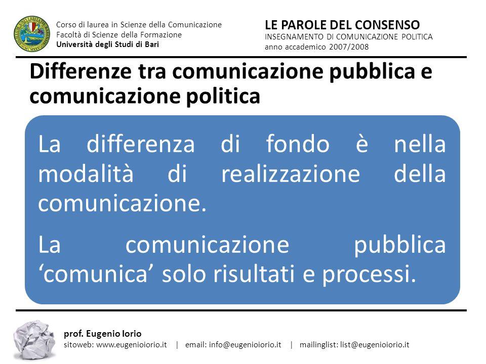 Differenze tra comunicazione pubblica e comunicazione politica