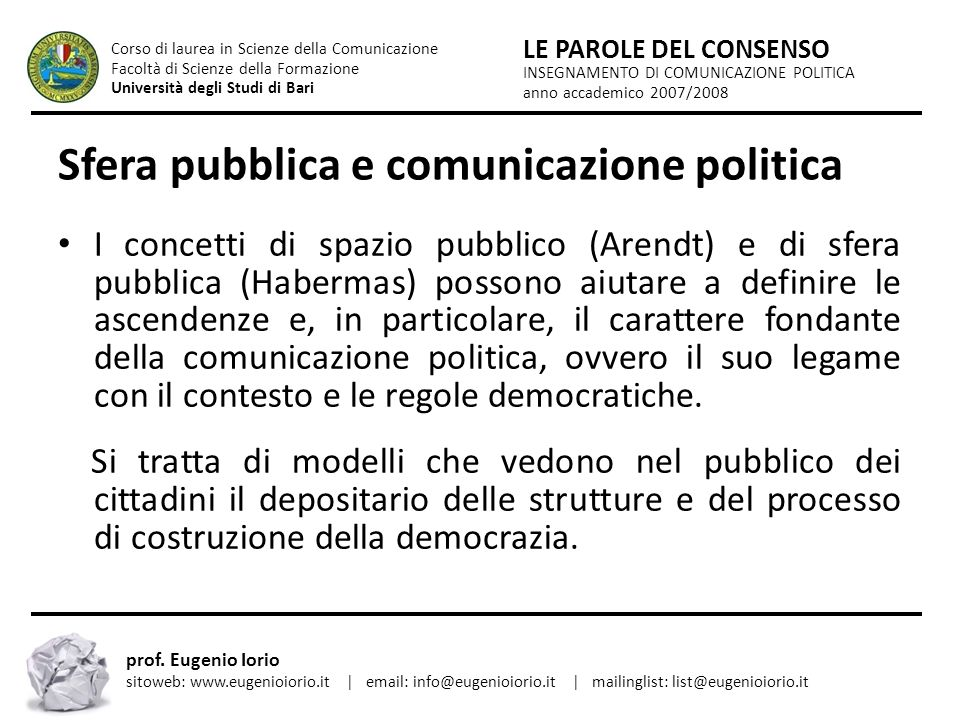 Sfera pubblica e comunicazione politica