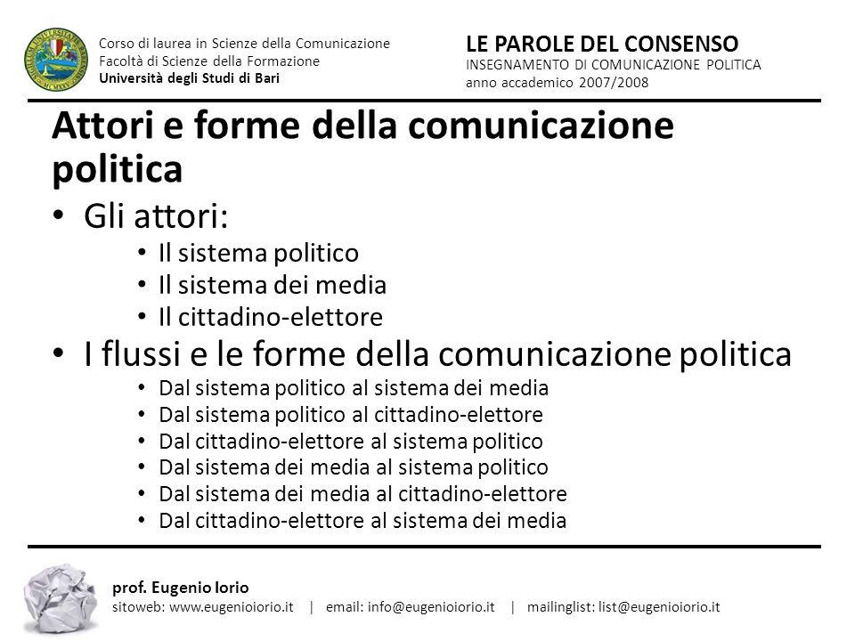 Attori e forme della comunicazione politica