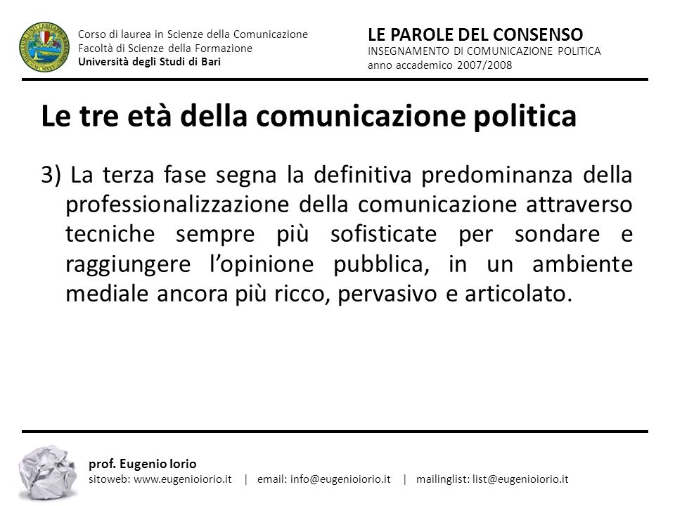 Le tre età della comunicazione politica