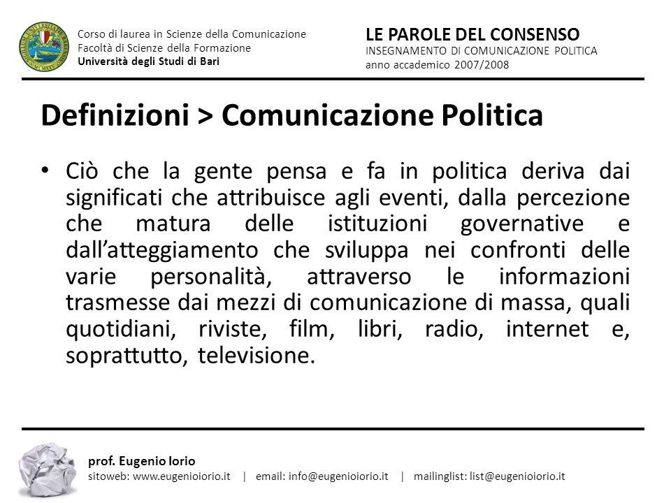Definizioni > Comunicazione Politica
