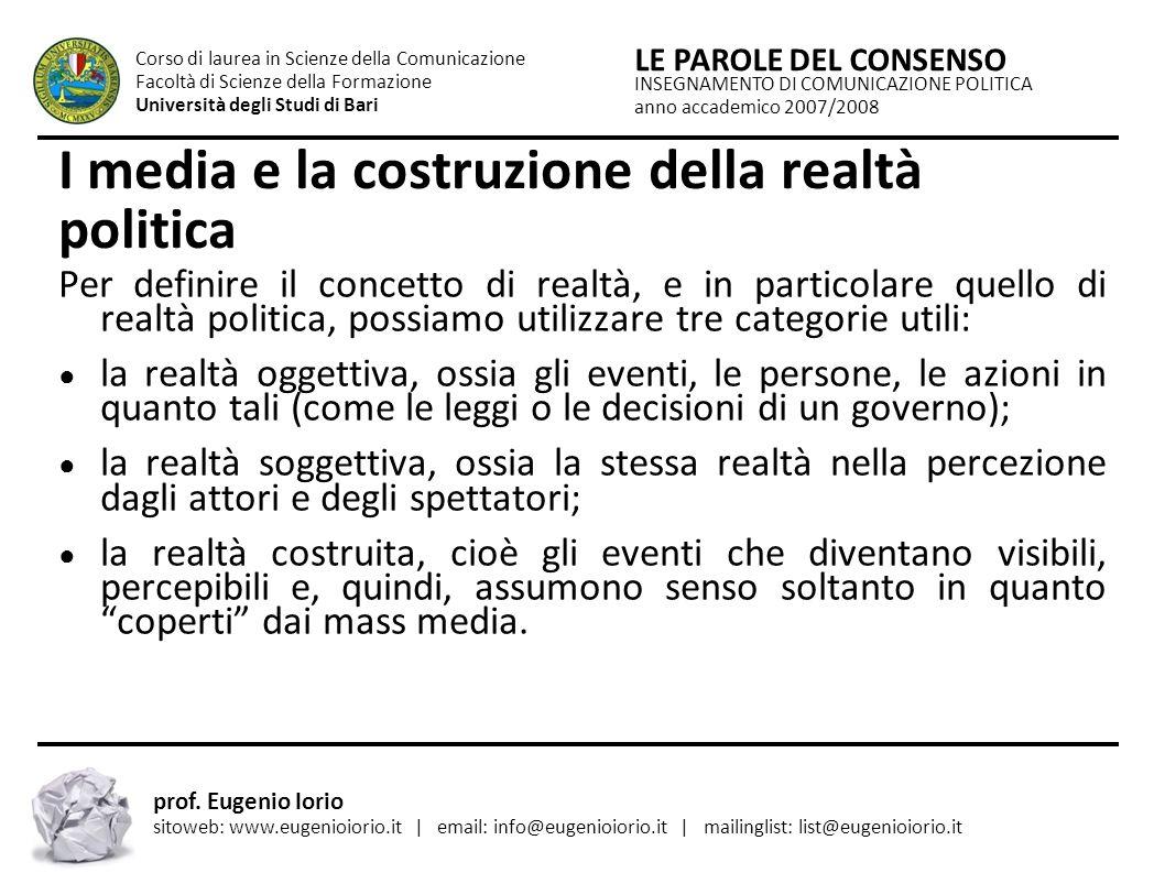 I media e la costruzione della realtà politica