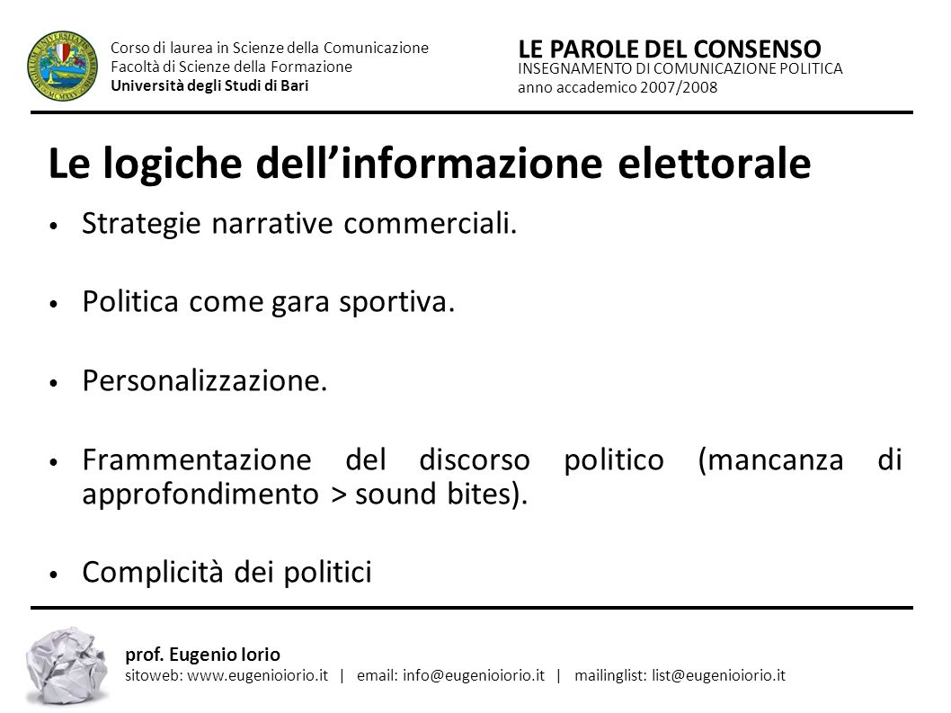 Le logiche dell'informazione elettorale