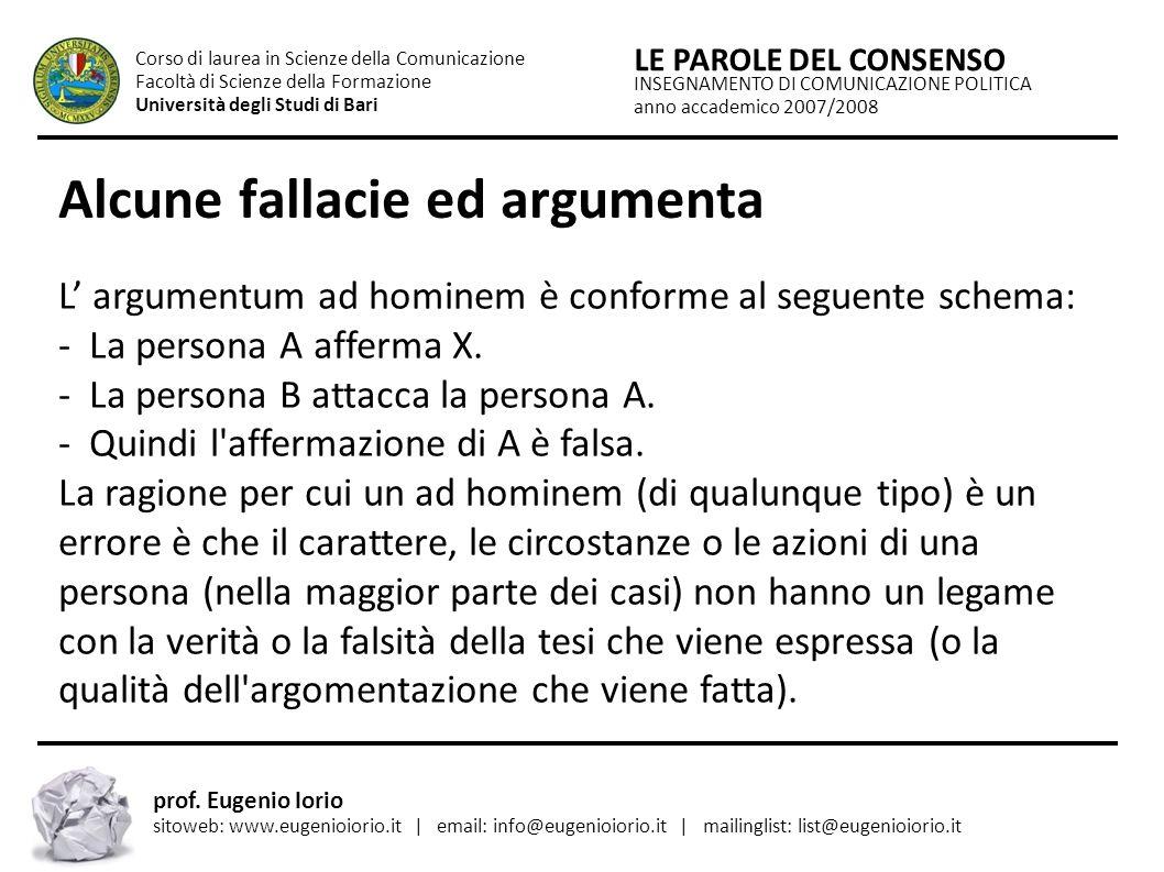 Alcune fallacie ed argumenta