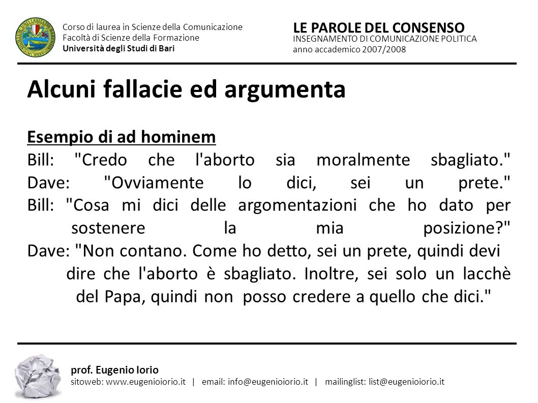 Alcuni fallacie ed argumenta