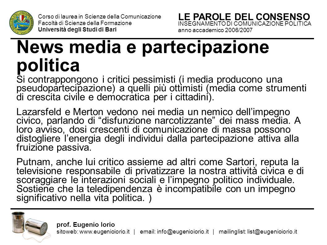 News media e partecipazione politica