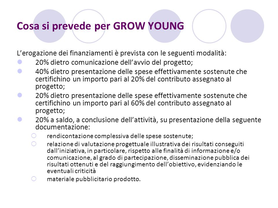 Cosa si prevede per GROW YOUNG