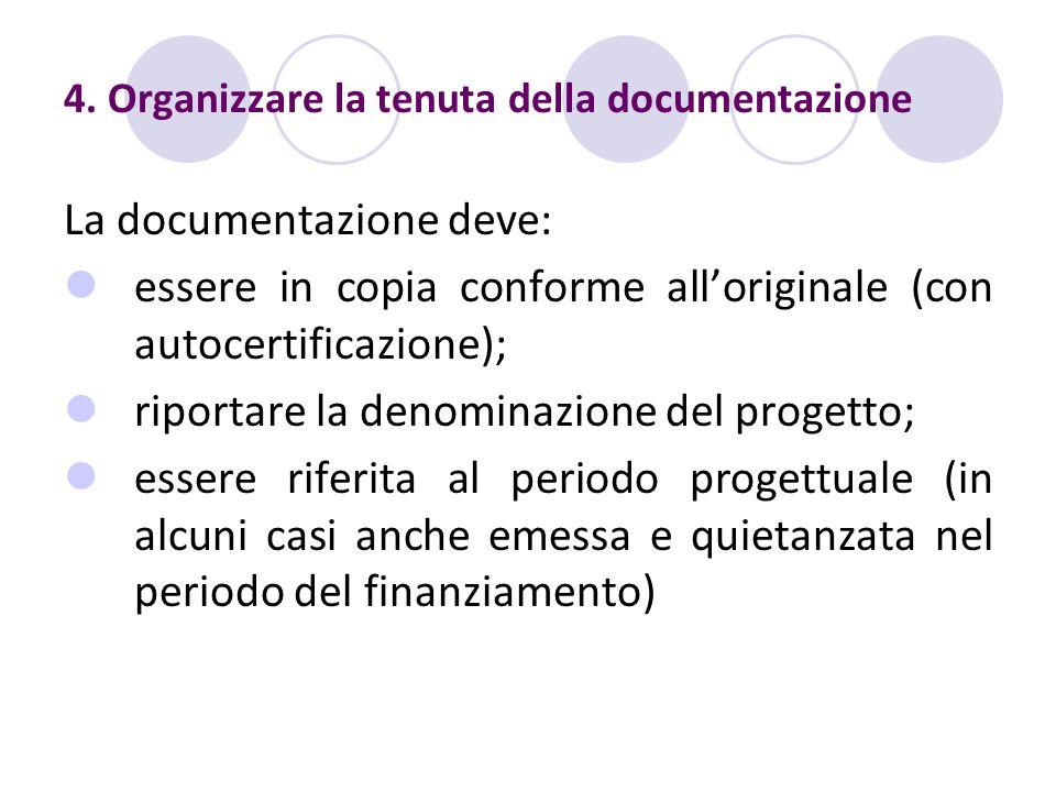 4. Organizzare la tenuta della documentazione