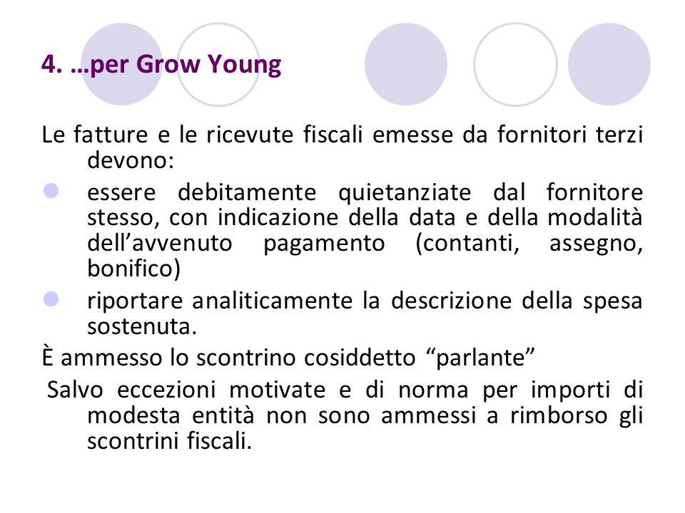 4. …per Grow Young Le fatture e le ricevute fiscali emesse da fornitori terzi devono: