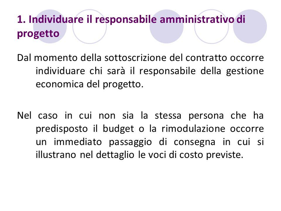 1. Individuare il responsabile amministrativo di progetto