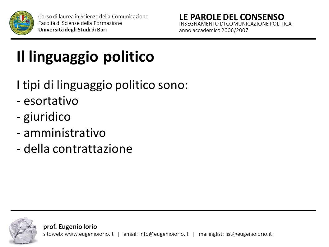 Il linguaggio politico
