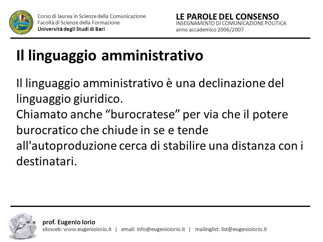 Il linguaggio amministrativo