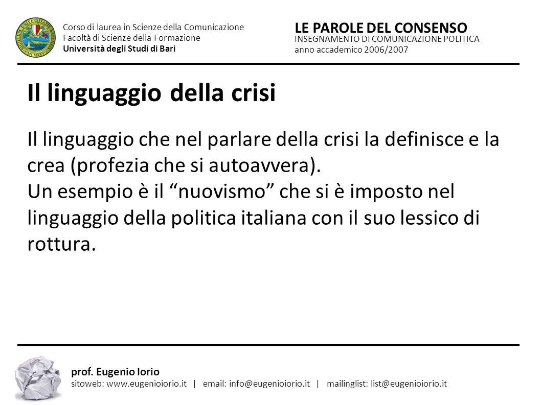 Il linguaggio della crisi