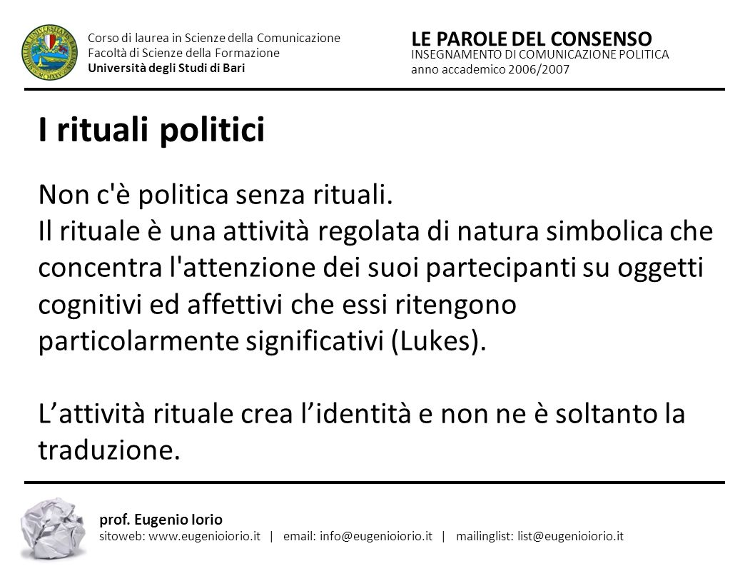 Insegnamento di Comunicazione Politica - Uniba