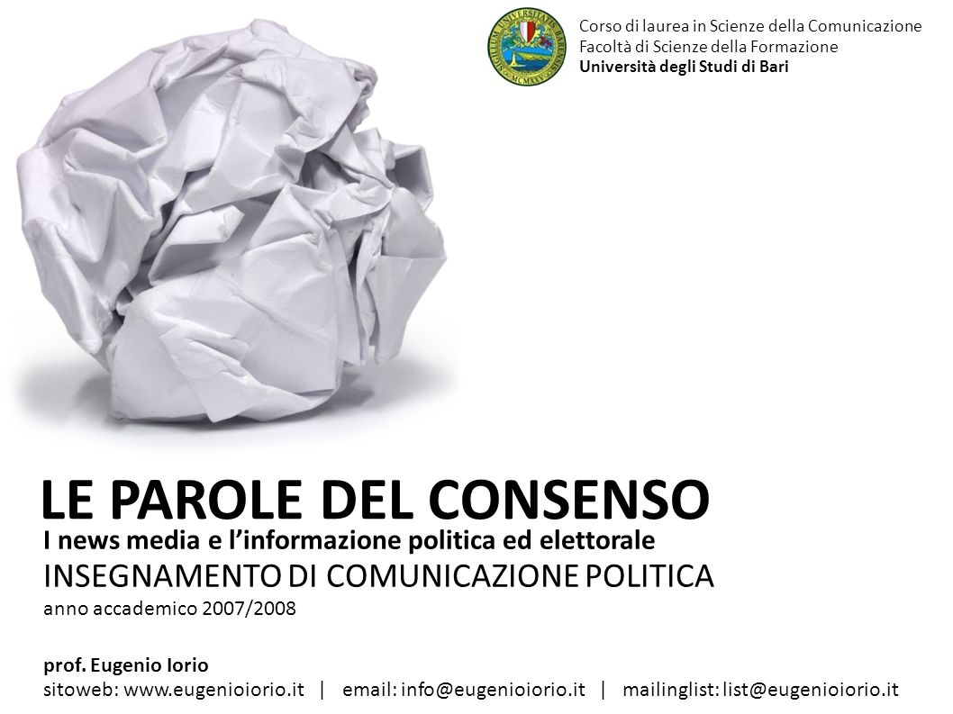 LE PAROLE DEL CONSENSO INSEGNAMENTO DI COMUNICAZIONE POLITICA