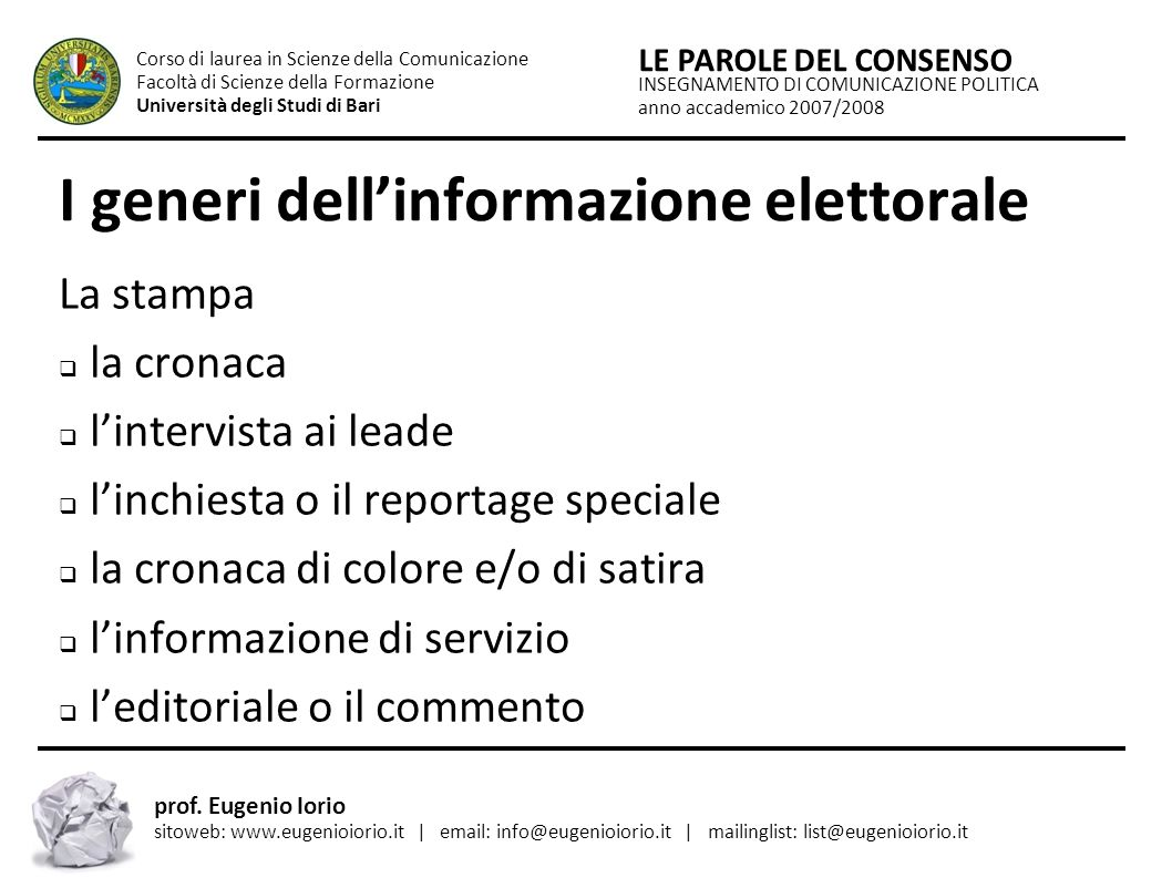 I generi dell'informazione elettorale