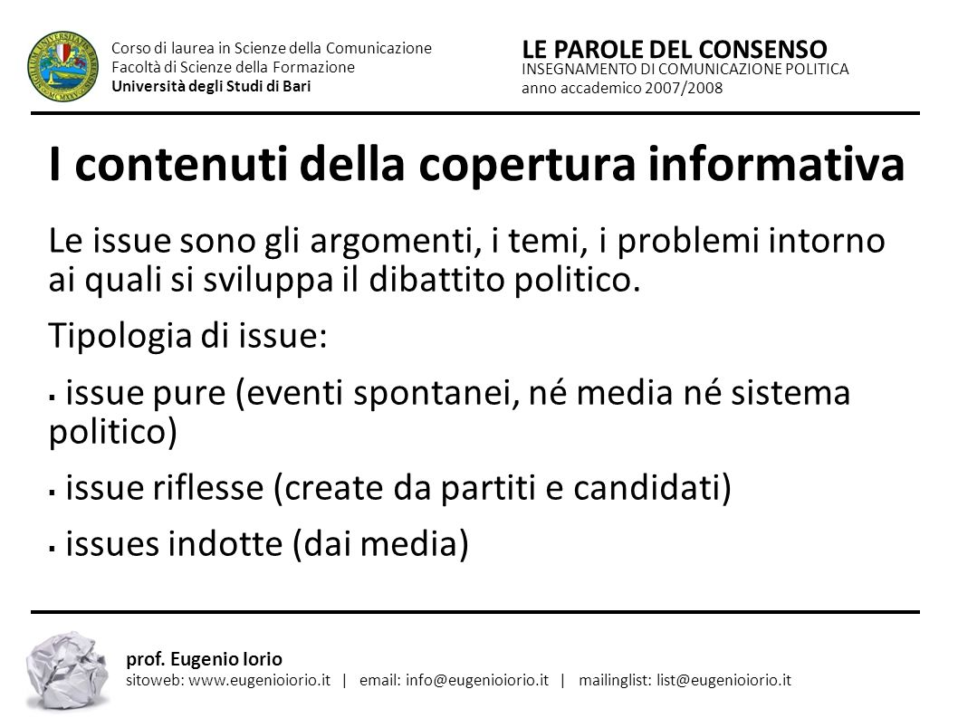 I contenuti della copertura informativa