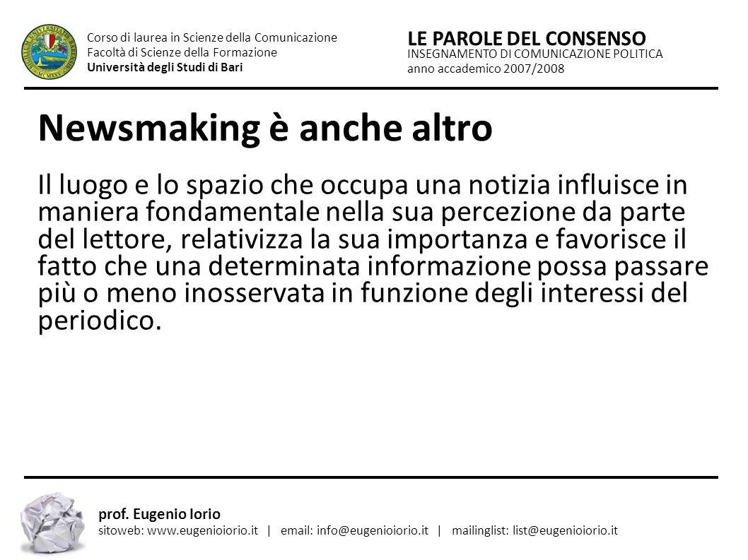 Newsmaking è anche altro