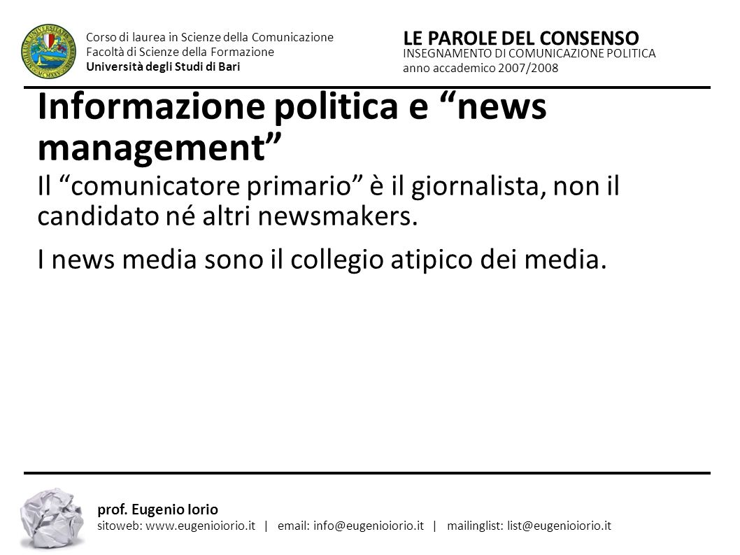 Informazione politica e news management