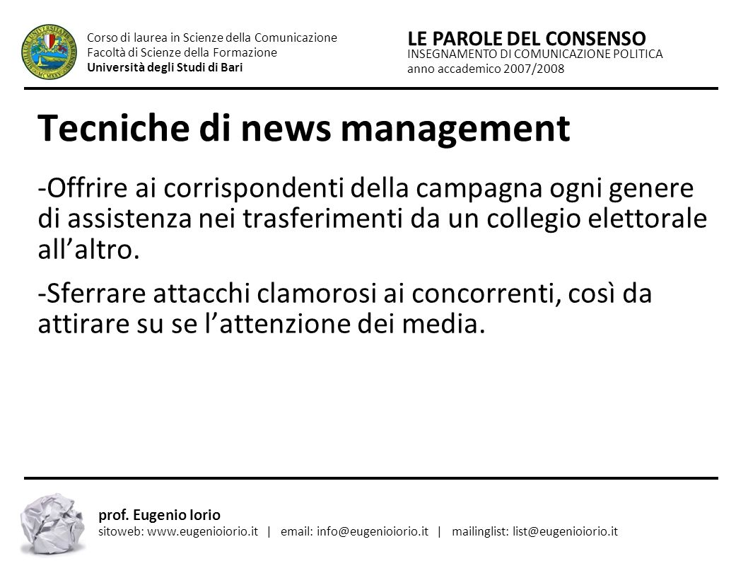 Tecniche di news management