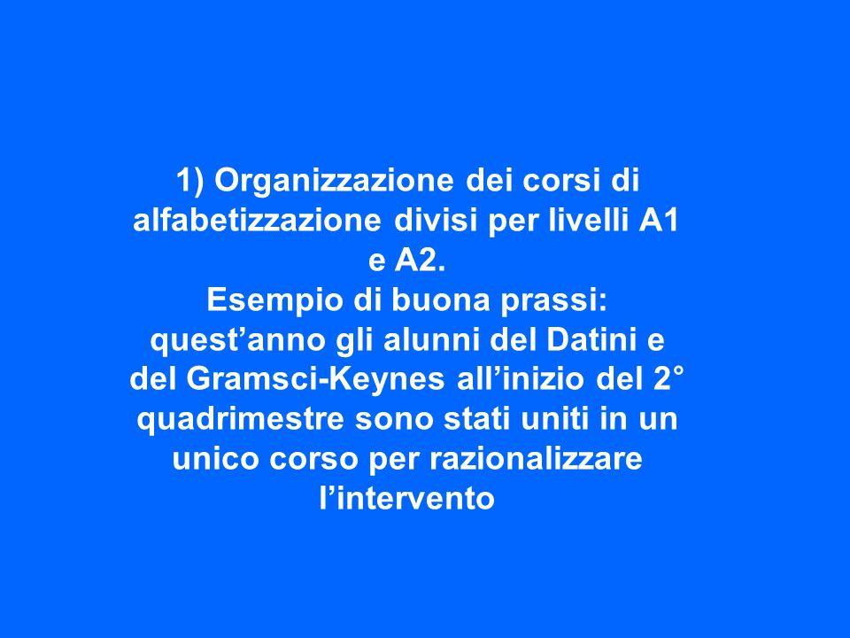1) Organizzazione dei corsi di alfabetizzazione divisi per livelli A1 e A2.