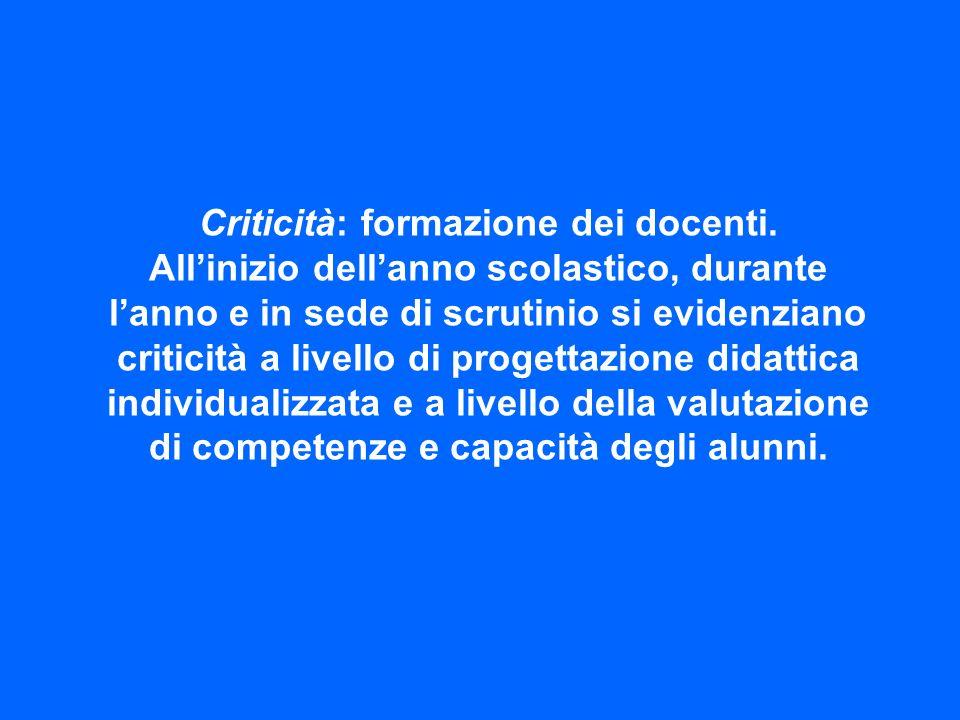 Criticità: formazione dei docenti.