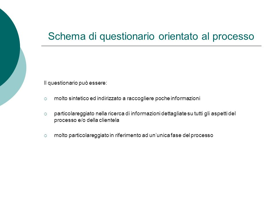 Schema di questionario orientato al processo