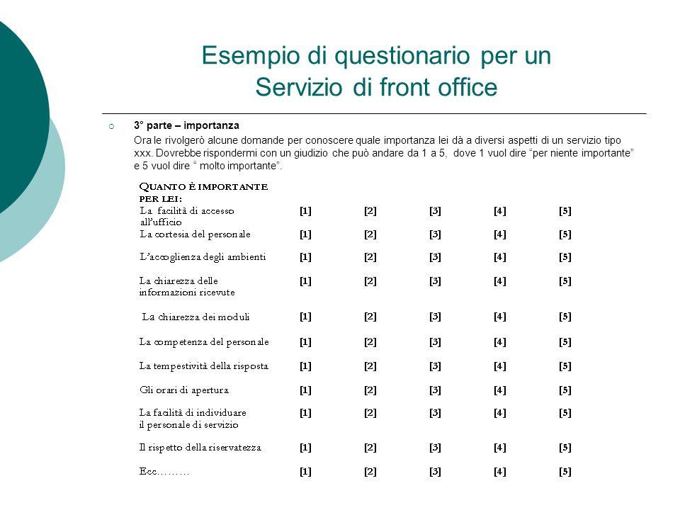 Esempio di questionario per un Servizio di front office