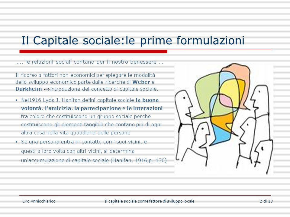 Il Capitale sociale:le prime formulazioni