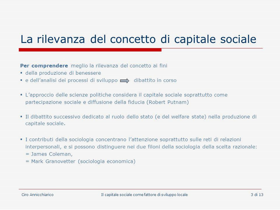 La rilevanza del concetto di capitale sociale