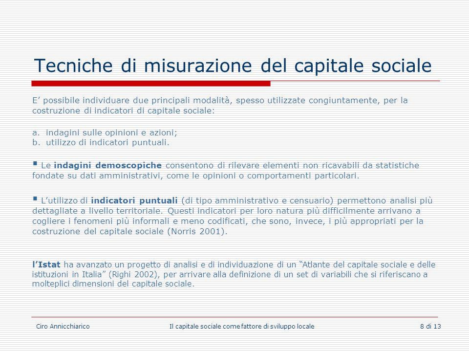 Tecniche di misurazione del capitale sociale