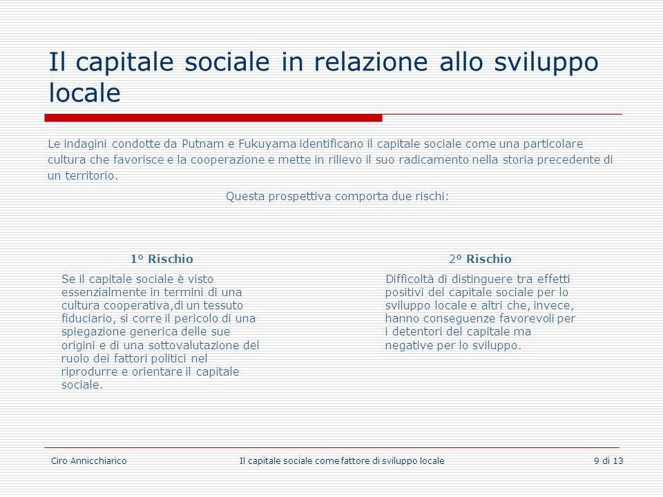 Il capitale sociale in relazione allo sviluppo locale